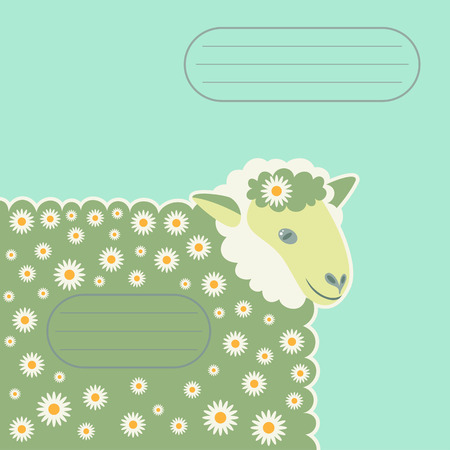 kinky: lamb in the daisies for a card or notebook with fields for text Illustration