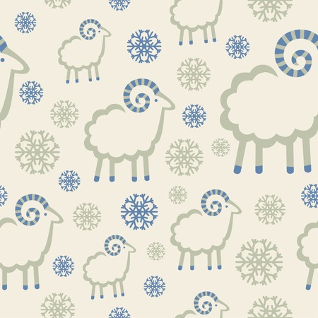 kinky: winter pattern with snowflakes and rams Illustration