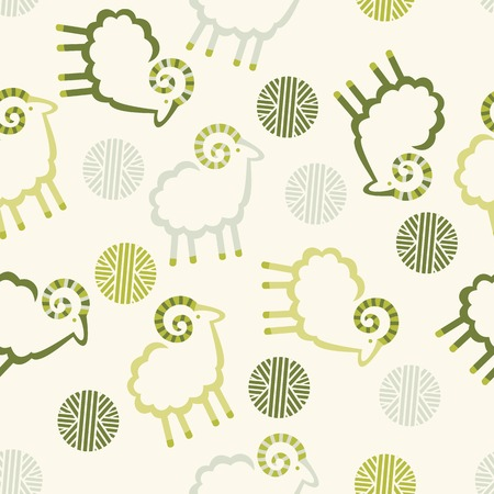 year of sheep: pattern sheep wool balls decorative light background