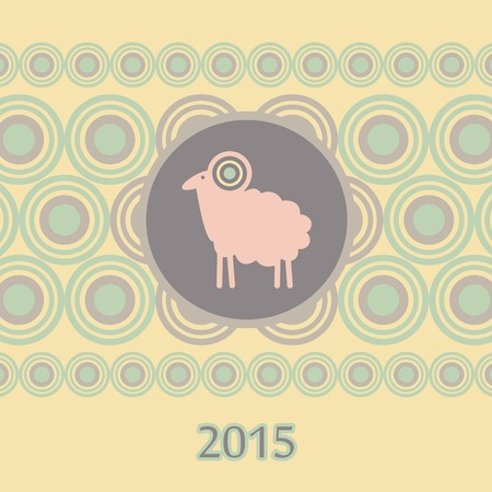 kinky: pink sheep christmas new year card Illustration
