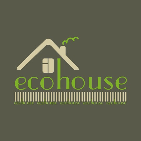 ecovillage: eco house eco-friendly natural materials dark background