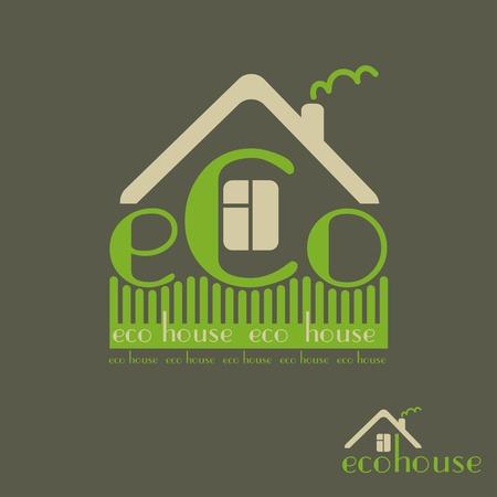 ecovillage: eco house eco-friendly natural materials dark background emblem