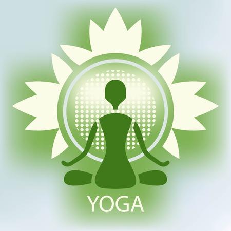 namaste: Yoga lotus flower emblem green background meditation posture