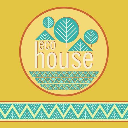 haltbarkeit: Eco Bio Hause dekorative Naturmaterialien embema Illustration