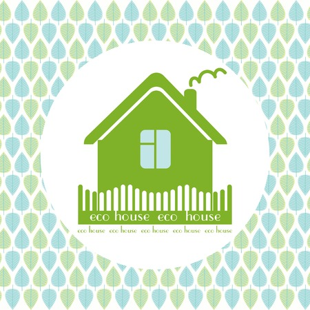 ecovillage: eco house decorative circle background green leaves