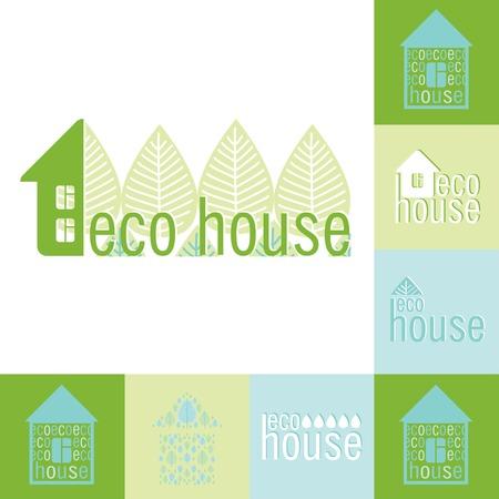 ecovillage: eco bio house emblem set of design elements