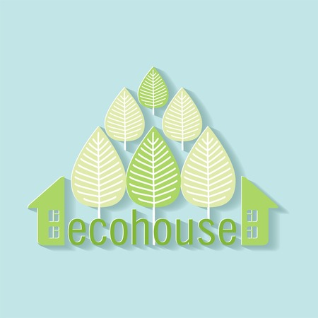 ayurveda: eco house logo paper blue background Illustration