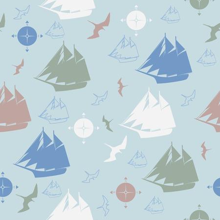 pattern ships compasses sea bird decorative design Vector