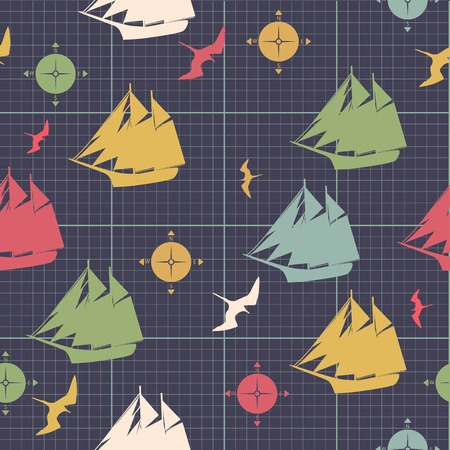 hoja cuadriculada: barcos patr�n compases dise�o decorativo de aves marinas en el papel cuadriculado
