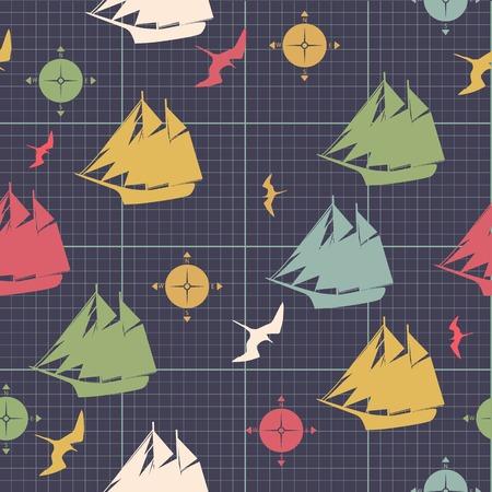 pattern ships compasses sea bird decorative design on graph paper Vector