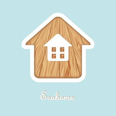ecovillage: eco house wood texture isolated logo design