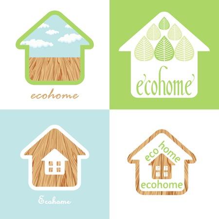 haltbarkeit: �ko-Haus-Set des Naturmaterials Holz Textur Illustration
