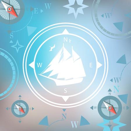 ship white background traveler compasses stylized design Vector