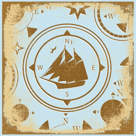 ship retro shabby paper compasses stylized silhouette Vector