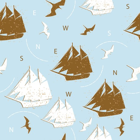 seamless pattern ships birds silhouettes background blue design Vector
