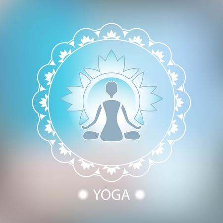 namaste: Yoga lotus pose decorative emblem background blurred Illustration