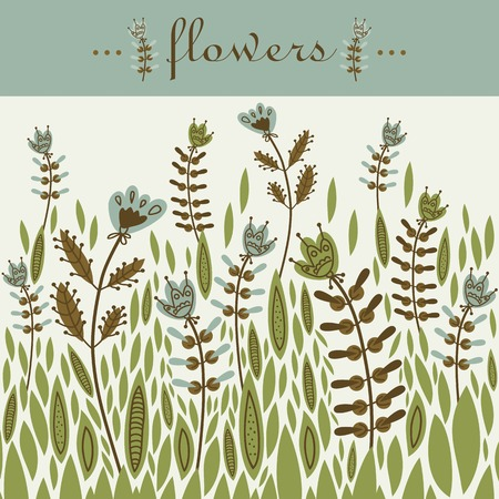 flax seed: decorative flowers inscription Glade magic card design