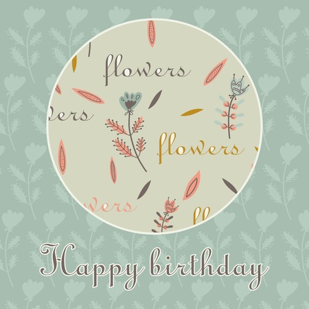 flax seed: card happy birthday decorative flowers circle background