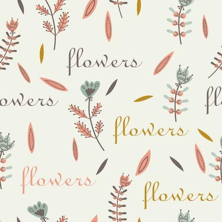 flax seed: flower pattern seamless decorative label design