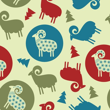 Christmas tree pattern sheep seamless design Vector