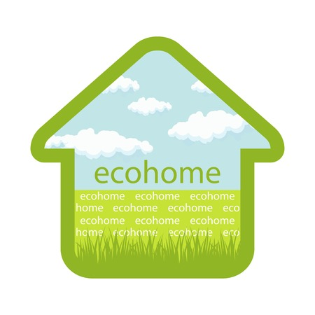 ecovillage: eco house emblem isolated sky clouds grass