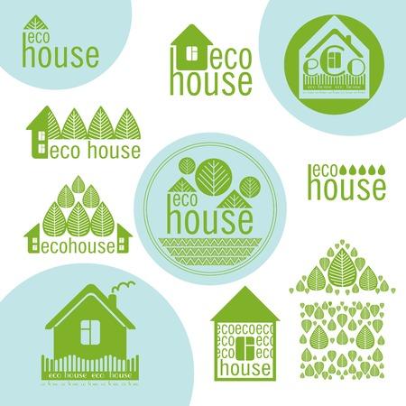 ecovillage: set of eco houses natural materials green design Illustration