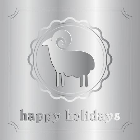 kinky: silver ram on a background of Christmas shiny design Illustration