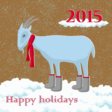snow drifts: goat in the boots and scarf in the snow greeting card