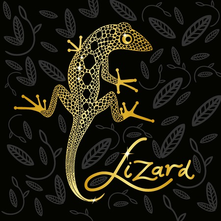 lizard: Golden lizard on a black decorative background design