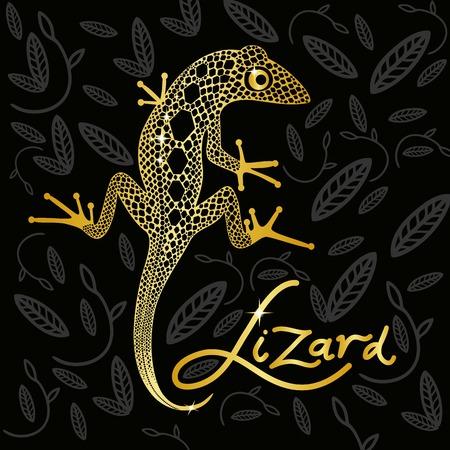 jaszczurka: Złoty jaszczurki na czarnym tle projektowania dekoracyjne