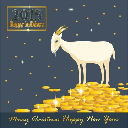 horn of plenty: goat on a mountain of coins with golden horns holiday card Illustration