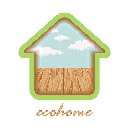 ecovillage: eco house with wooden floors and clouds emblem Illustration
