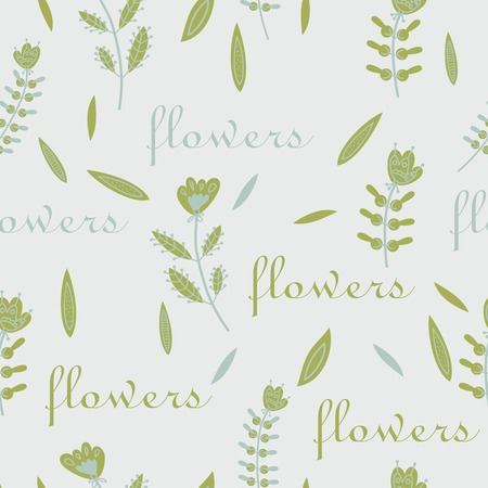 flax seed: seamless floral pattern decorative design light colors Illustration