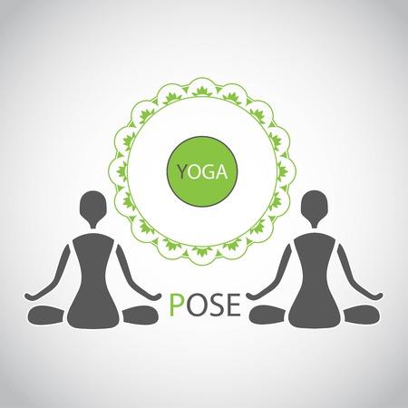 namaste: emblem yoga lotus posture silhouette figures of people Illustration