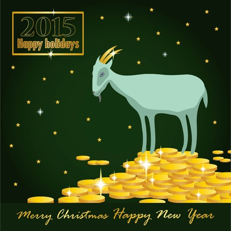 horn of plenty: goat on a mountain of coins on a dark green background greeting card Illustration