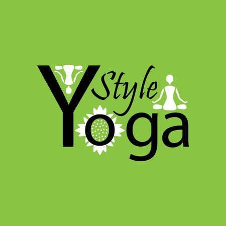 yoga style logo on a green background design Vector