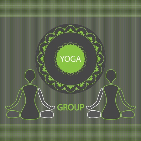 yoga group two people in the lotus position Vector