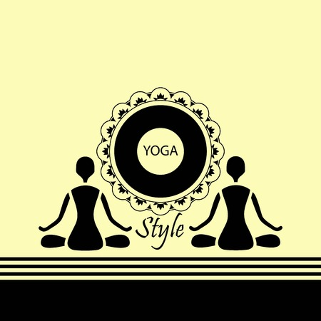 emblem yoga two human figures in a lotus silue Vector