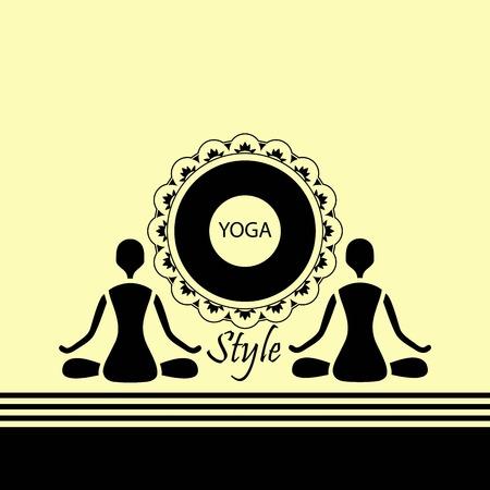 namaste: emblem yoga two human figures in a lotus silue