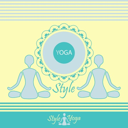 emblem yoga style on a light background meditation design Vector