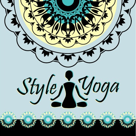 style of yoga mandala pattern silhouette figure of a man in the Lotus position Vector
