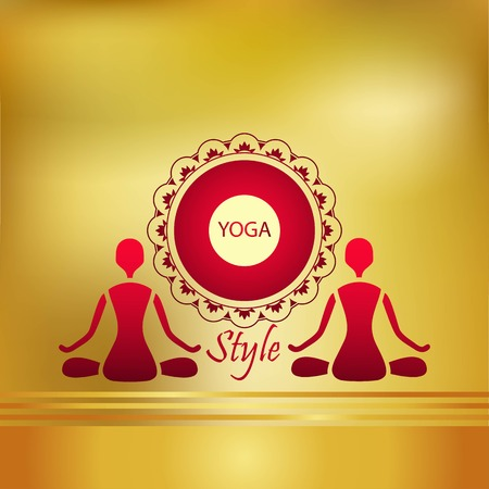 yoga style two figures on a gold background design Vector