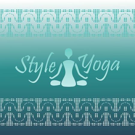 namaste: yoga style silhouette figure with Lotus design