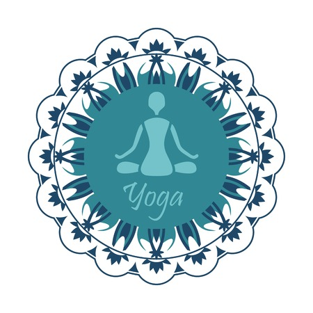 namaste: yoga silhouette in the Lotus position on the background of the ornament in the circle