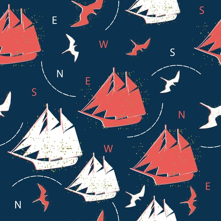 seamless pattern ships and marine birds Vector