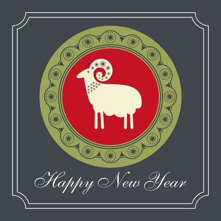 kinky: Christmas sheep in the red circle greeting card design Illustration