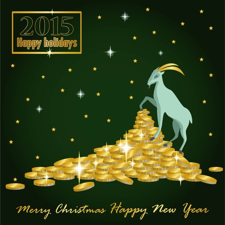 goat Christmas on the mountain of gold coins and a card with the desire for wealth