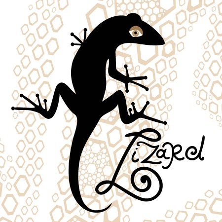 nimble: black isolated silhouette of a lizard on a decorative background Illustration