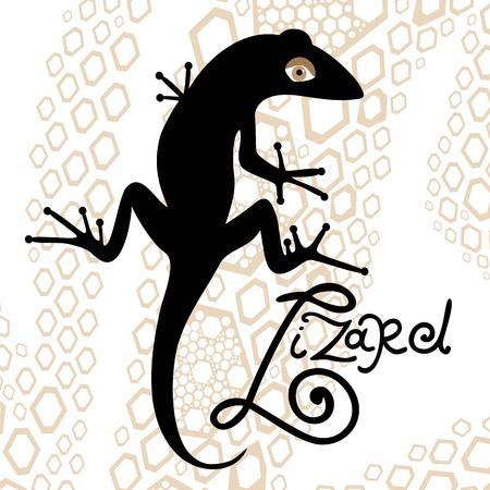 com escamas: silhueta isolado preto de um lagarto em um fundo decorativo