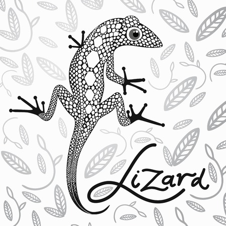 nimble: lace lizard in the background with decorative leaves